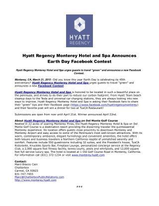 Hyatt Regency Monterey Hotel and Spa Announces Earth Day Fac