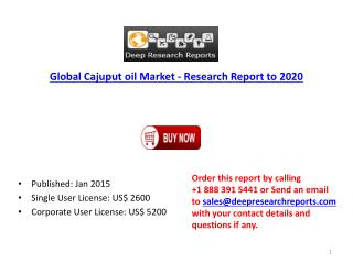 Global Cajuput oil Market - Deep Research Report to 2021