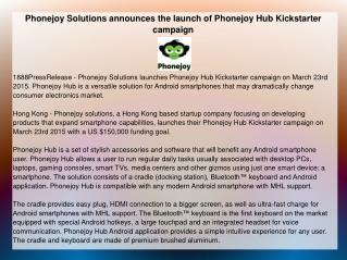 Phonejoy Solutions announces the launch of Phonejoy Hub