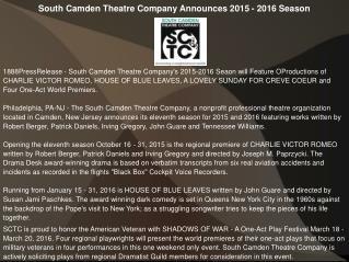 South Camden Theatre Company Announces 2015 - 2016 Season