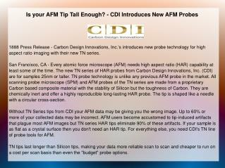Is your AFM Tip Tall Enough? - CDI Introduces New AFM Probes