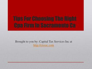 Tips For Choosing The Right Cpa Firm In Sacramento Ca