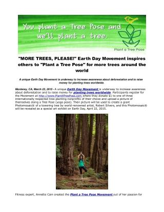 """""""MORE TREES, PLEASE!"""" Earth Day Movement inspires others"""