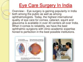 Price Eye Surgery Delhi India
