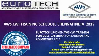 AWS CWI TRAINING SCHEDULE CHENNAI AND COIMBATORE 2015