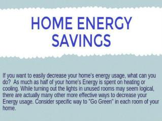 Home Saving Energy