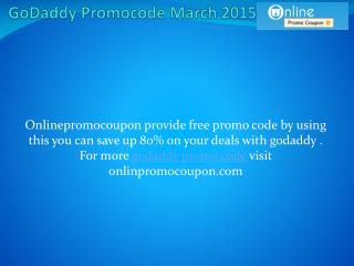 GoDaddy Promocode March 2015