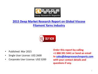 Global Viscose Filament Yarns Market Trends and Technology 2