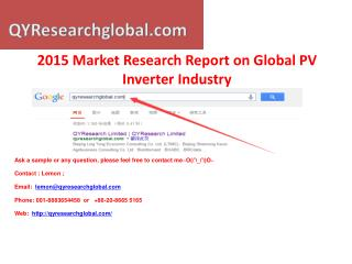 Global PV Inverter Industry QYResearch Market Research Repor