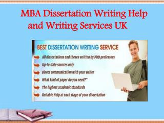 MBA Dissertation Writing Help and Writing Services UK
