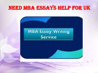 Need MBA Essays Help for UK