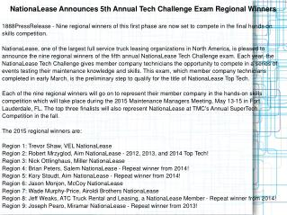 NationaLease Announces 5th Annual Tech Challenge Exam