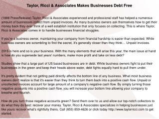 Taylor, Ricci & Associates Makes Businesses Debt Free