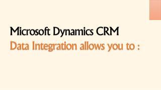 Microsoft Dynamics CRM Data Integration