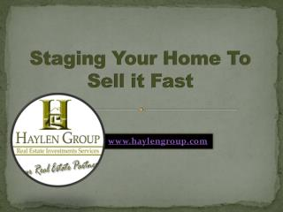 Staging your Home to Sell it Fast