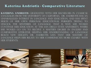 Katerina Andriotis - Comparative Literature