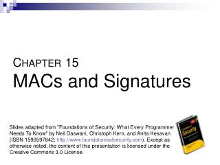 CHAPTER 15  MACs and Signatures