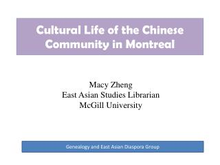 Cultural Life of the Chinese Community in Montreal