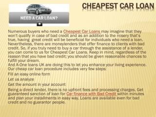 Cheapest Car Loans Online in UK