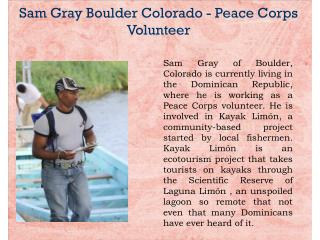 Sam Gray Boulder Colorado - Peace Corps Volunteer