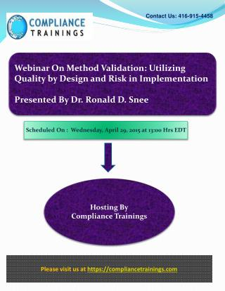 Webinar On Method Validation: Utilizing Quality by Design