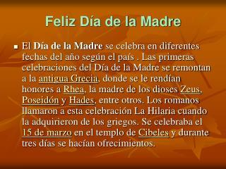 Feliz D a de la Madre