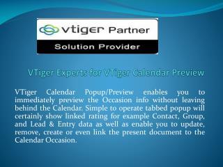 VTiger Experts for VTiger Calendar Preview