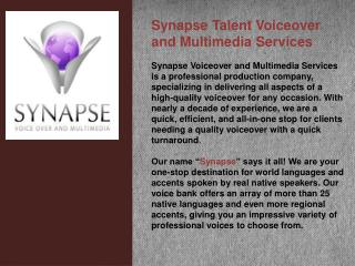 Synapse Talent Voiceover and Multimedia Services