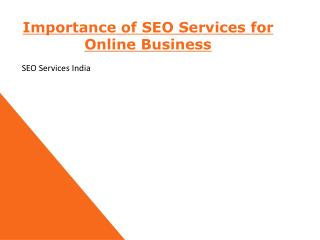Importance of SEO Services for Online Business