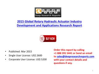 2015 Global Rotary Hydraulic Actuator Industry Development a