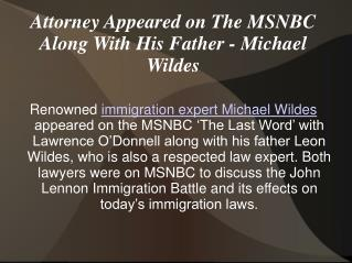 Attorney Appeared on The MSNBC Along With His Father - Micha