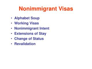 Introduction to Non-Immigrant Visas