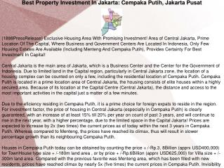 Best Property Investment In Jakarta: Cempaka Putih, Jakarta