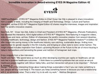 Incredible Innovation in Award-winning EYES IN Magazine