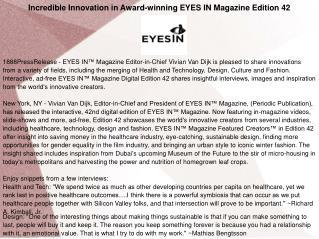 Incredible Innovation in Award-winning EYES IN Magazine