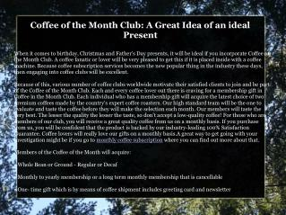 Get in on the Floucoffee ofrishing Coffee of the Month Club