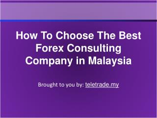 How To Choose The Best Forex Consulting Company in Malaysia