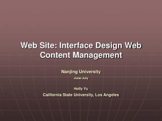 Web Site: Interface Design Web Content Management