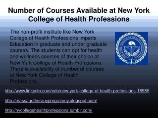 Courses Available at NY College of Health Professions