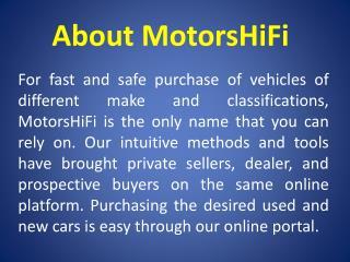 Used Vehicle Search - MotorsHiFi