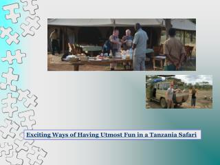 Exciting Ways of Having Utmost Fun in a Tanzania Safari