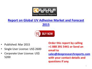 Report on Global UV Adhesive Market and Forecast 2015