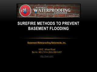 Basement Water Repair Baltimore