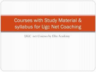 Get UGC NET Entrance Coaching