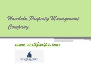 Honolulu Property Management Company - www.certifiedps.com