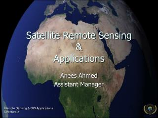 Satellite Remote Sensing  Applications