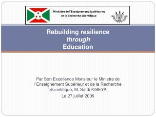 Rebuilding resilience  through  Education