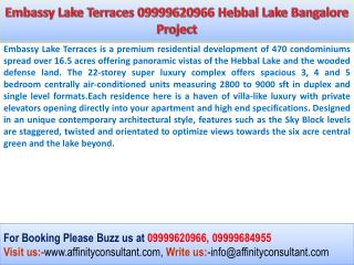 Embassy Group Terraces Launches  New Project Embassy Lake Te
