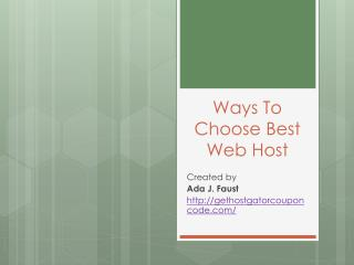 Ways To Choose Best Web Host