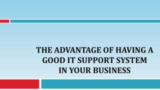 The Advantage of Having A Good IT Support System